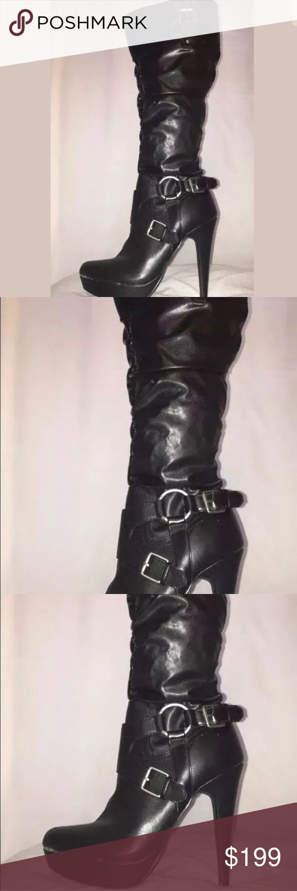 ❗️Guess ❗️High Heel Zipper up boots Sexy black high heel boots with buckles size 8M New Guess Shoes Heeled Boots