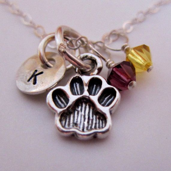 Tiger Paw Print Charm Necklace, Hand Stamped Initial Charm Necklace, Louisiana State University, LSU Tigers http://www.etsy.com/listing/87495917/monogram-necklace-with-sterling-silver $38