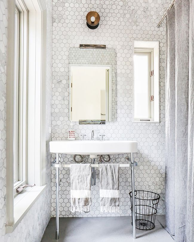 How many of us to throw away stuff that would fall through that (worthless) waste basket?  alexander-design-malibu-hex-tiles-bath