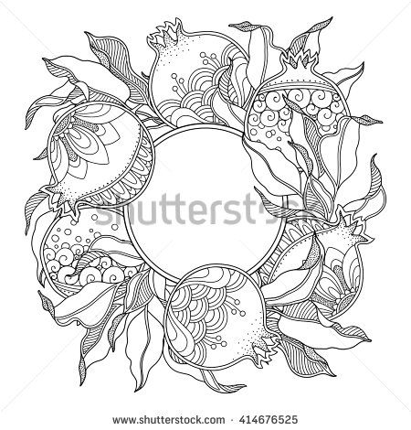 Nature frame with Pomegranate fruit, branch, leaves in doodle style. Floral, ornate, decorative, tribal vector design elements. Black and white monochrome background. Zentangle coloring book page