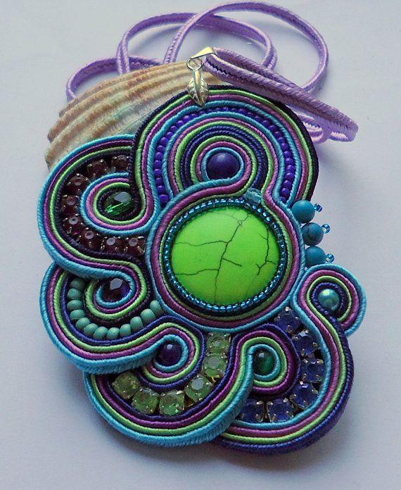 Color Pendant soutache by SoutacheForYou on Etsy