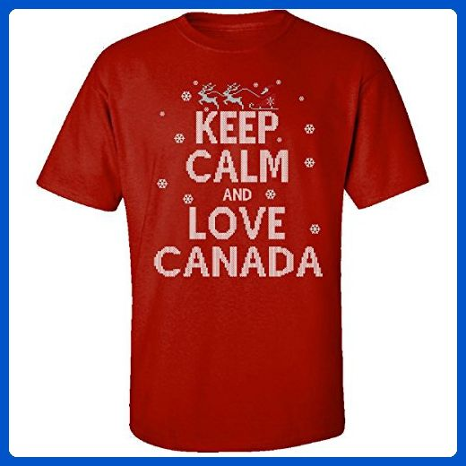 Keep Calm And Love Canada Country Ugly Christmas Sweater - Adult Shirt 2xl Red - Holiday and seasonal shirts (*Amazon Partner-Link)