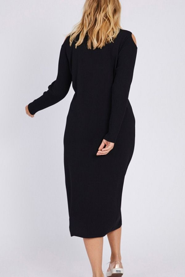 Women Black Knit Cold Shoulder Long Sleeve Casual Plus Size Sweater Dress - 3XL 3