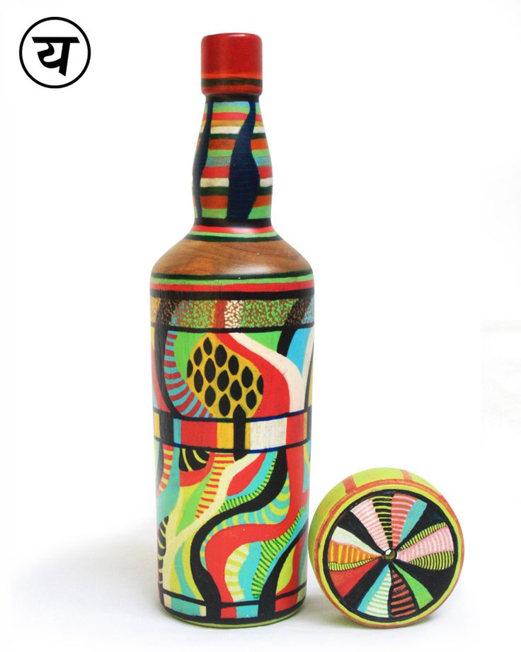 """Waves (Hand-painted Single Malt Bottle Lamp) 
