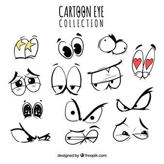 Coleção de desenhos animados eyes com expressões engraçadas