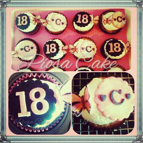18th Birthday Monogram cupcakes  #chocolate #vanilla #CherryLiqueurCream #leftoverCream #coffeetime  #cupcake #homemade