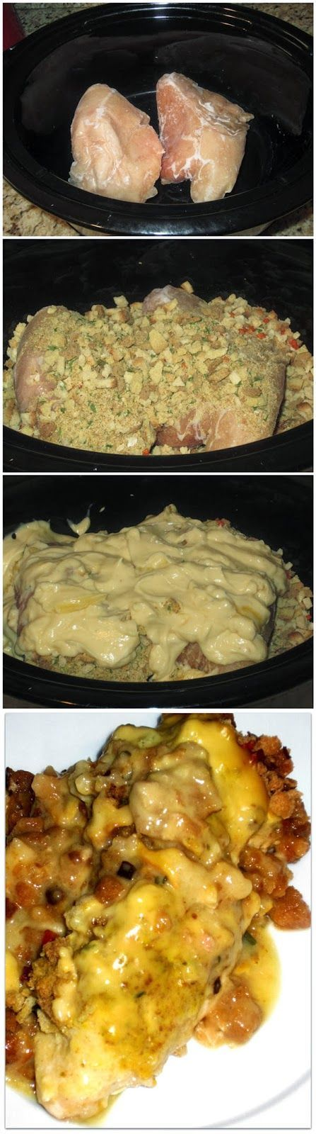 Crockpot Chicken and Stuffing is so easy to make with only 5 ingredients and a crockpot! My family loves this…