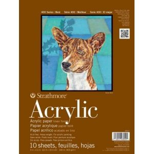 "Strathmore® 400 Series 12"" x 18"" Glue Bound Acrylic Pad: Glue Bound, White/Ivory, Pad, 10 Sheets, 12"" x 18"", Acrylic, 246 lb, (model ST430-12), price per 10 Sheets pad"