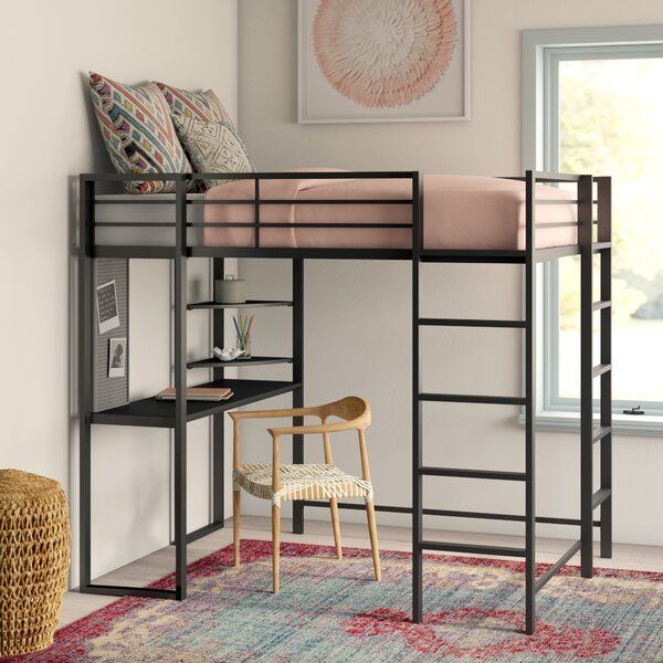 Aime Full Loft Bed With Bookcase Loft Bed Loft Bed Frame Low Loft Beds