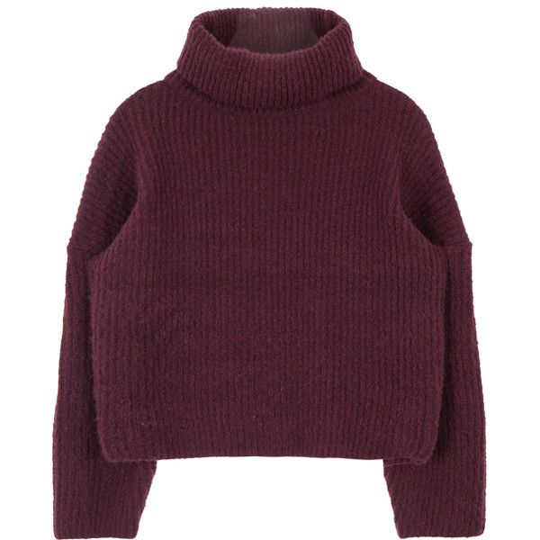 Funnel Neck Knit Sweater found on Polyvore featuring tops, sweaters, jumpers, crop top, long sleeve sweaters, knit sweater, boxy sweater, bunny sweater and long sleeve knit tops