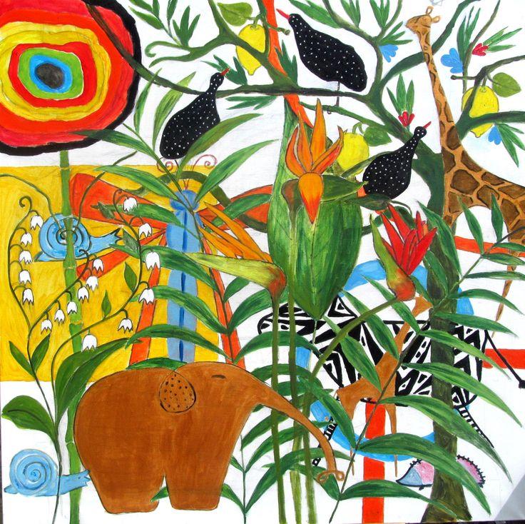 Ewa Andruszkiewicz ''w rajskim ogrodzie'' olej 100x100