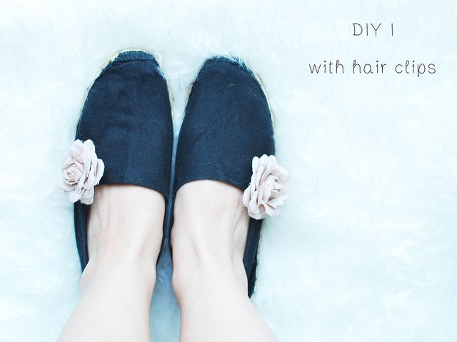 Quick DIY Tutorial:  Pimp your summer shoes with hair clips!