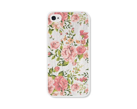 Peach Green and Grey Floral Rose iPhone Case - iPhone 4 Case - iPhone 4 Cover - iPhone 4 Skin - Coral Pink Pastel Flowers iPhone 4 Case