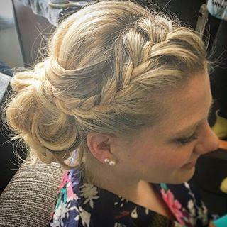 Super #fun #bridesmaid #bridesmaidhair #braids #braidedupdo #updo #hair #curls #sideupdo by our Mabree