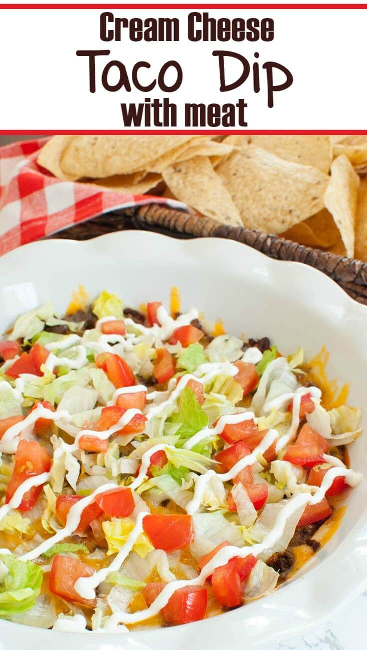 Creamy, hot taco dip with meat. This cream cheese taco dip is like a ground beef taco pizza dip! Great for Cinco de Mayo or an easy party dip.