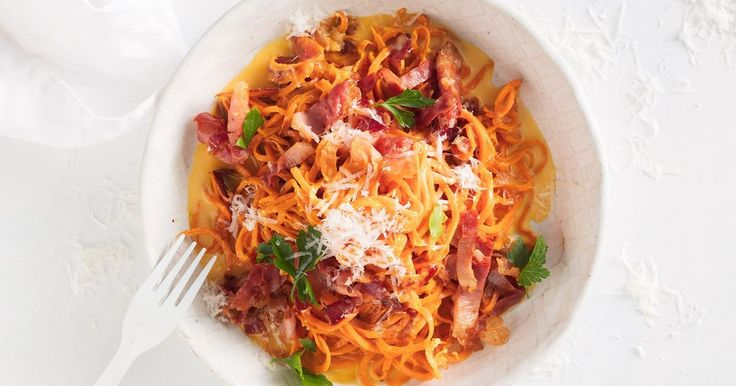 A lighter version of everyone's favourite pasta dish, this 20-minute carbonara replaces pasta with sweet potato.