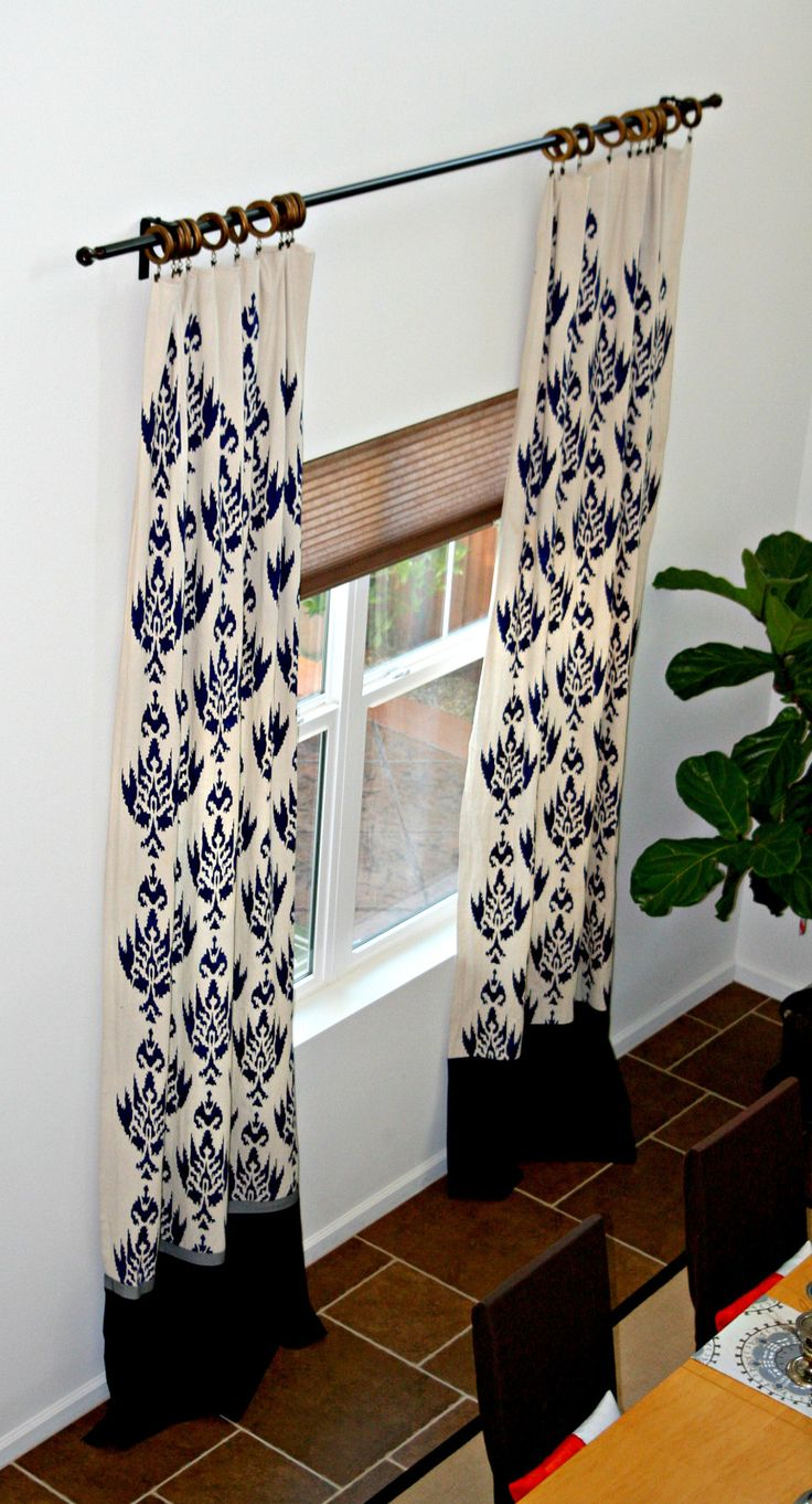 Drop cloth curtains dyed - Diy Stenciled Curtains Made From Drop Cloths