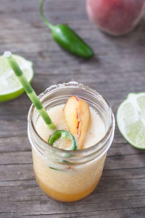 Peach jalapeño margarita with honey simple syrup