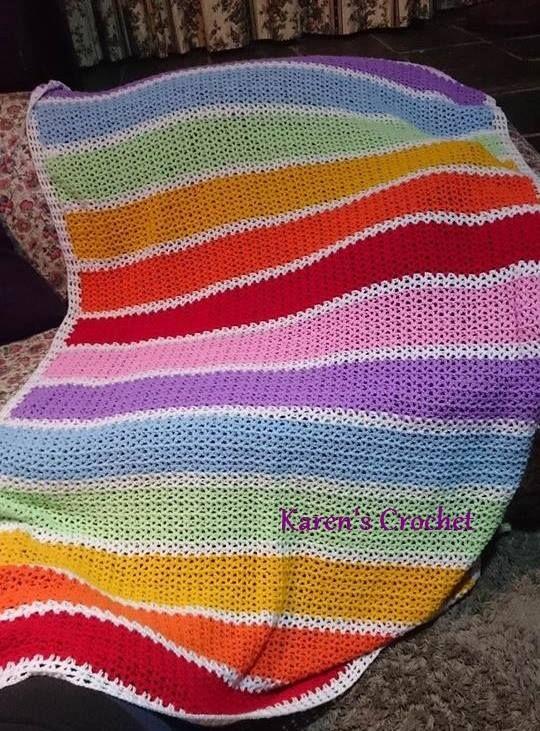 Rainbow Blanket in V-Stitch
