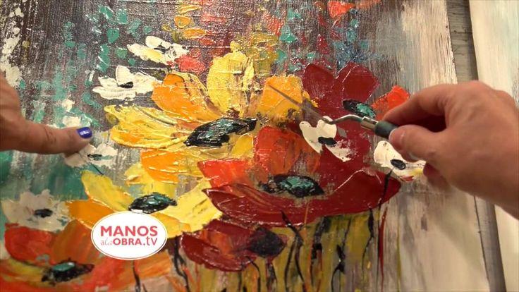 Como pintar  con espatula  Flores - Acrilicos