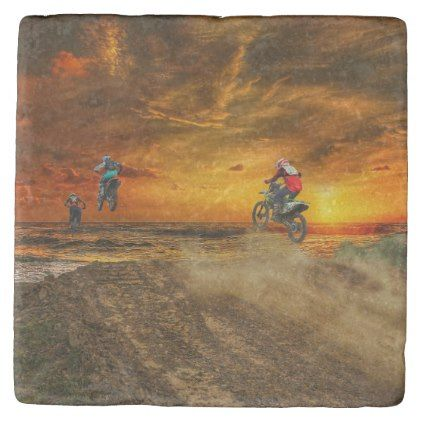Motocross at dusk stone coaster - ocean side nature waves freedom design