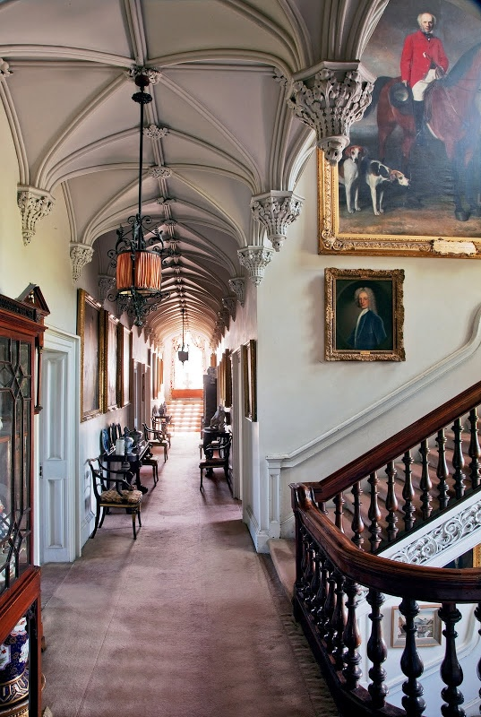 A gothic corridor with barrel vaulted ceilings leads to the bedrooms in Birr Castle