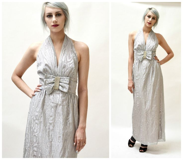 70s Vintage Silver Metallic Dress Evening Gown By Mike Benet Size small medium// Vintage Silver Metallic Gown Wedding Dress Halter Neck by Hookedonhoney on Etsy