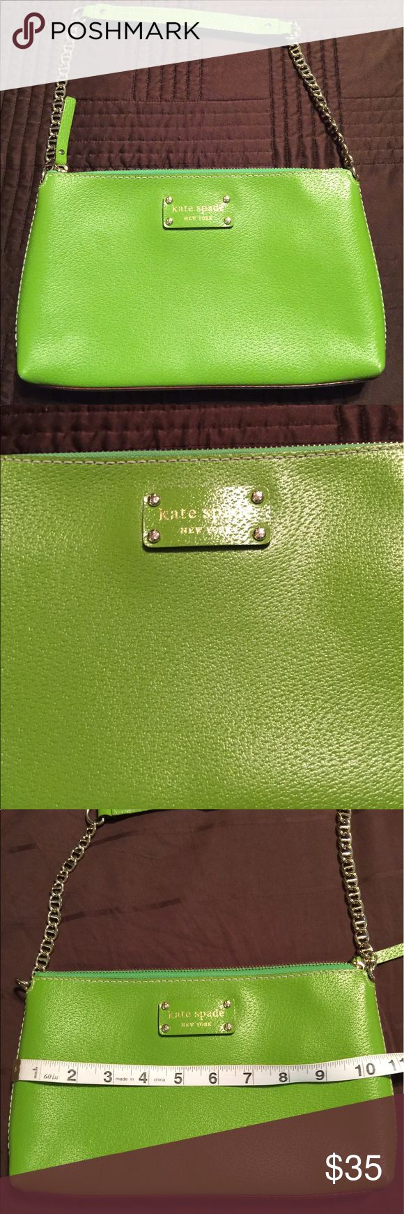 Kate Spade Green Shoulder Bag Kate Spade Green Shoulder Bag.  This purse is in excellent condition and comes from a smoke-feee/pet-free home.  The shoulder drop is approximately 8 inches.  Please request additional information/images if needed.  Thanks for viewing!! kate spade Bags Shoulder Bags