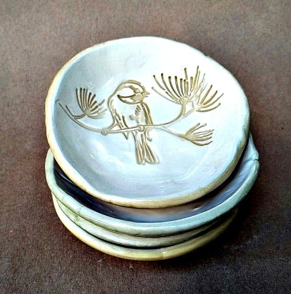 Four Ceramic Hand Built Pottery Bird Prep Dipping Sauce by dgordon, $36.00
