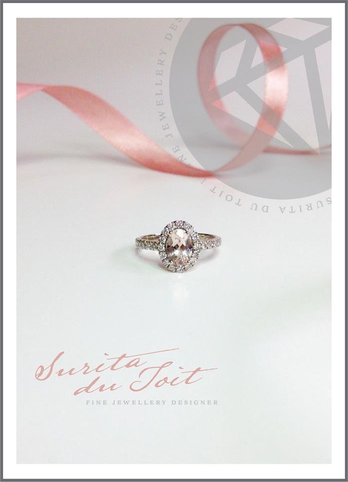 Natural Morganite and diamonds set in 9K white gold. Manufactured by Surita du Toit.