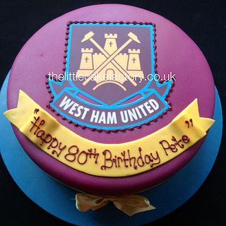 West Ham United Cake #west-ham #football #club #cake #hammers #supporters #fans #80th #birthday #celebration #vanilla #sponge #claret #yellow #blue #soccer #footy | Flickr - Photo Sharing!