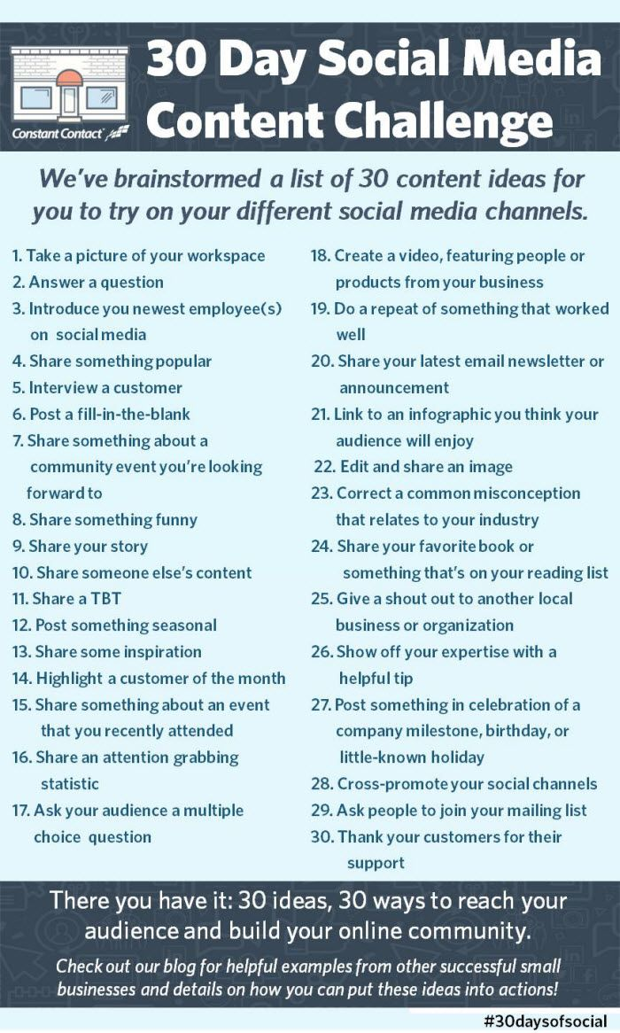 We've brainstormed a list of 30 content ideas for you to try on your different social media channels.