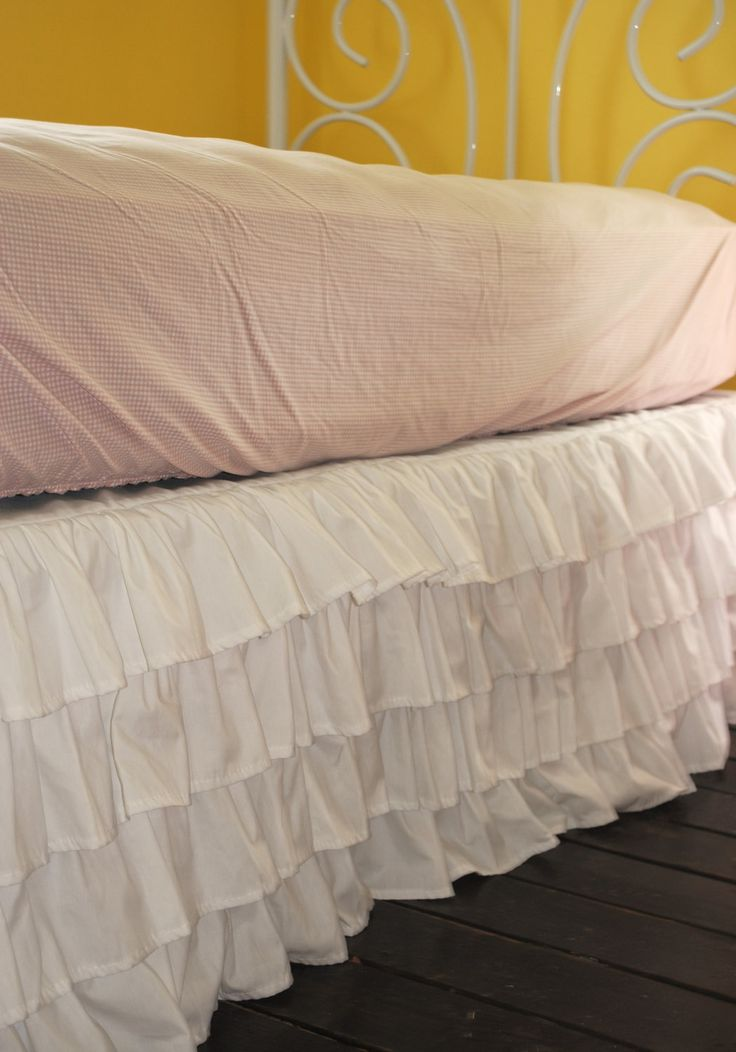 White Ruffle Bed Skirt Queen or King by PaulaAndErika on Etsy