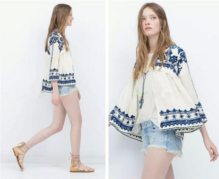 Ретро этнический вышивка синий и белый цветочный течение без тары кимоно кардиган рубашка женщины в свободного покроя лён блузка крем от загара купить на AliExpress