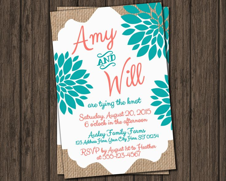 Wedding Invitation - Coral and Teal Burlap Invitation by PuggyPrints on Etsy https://www.etsy.com/listing/219793475/wedding-invitation-coral-and-teal-burlap