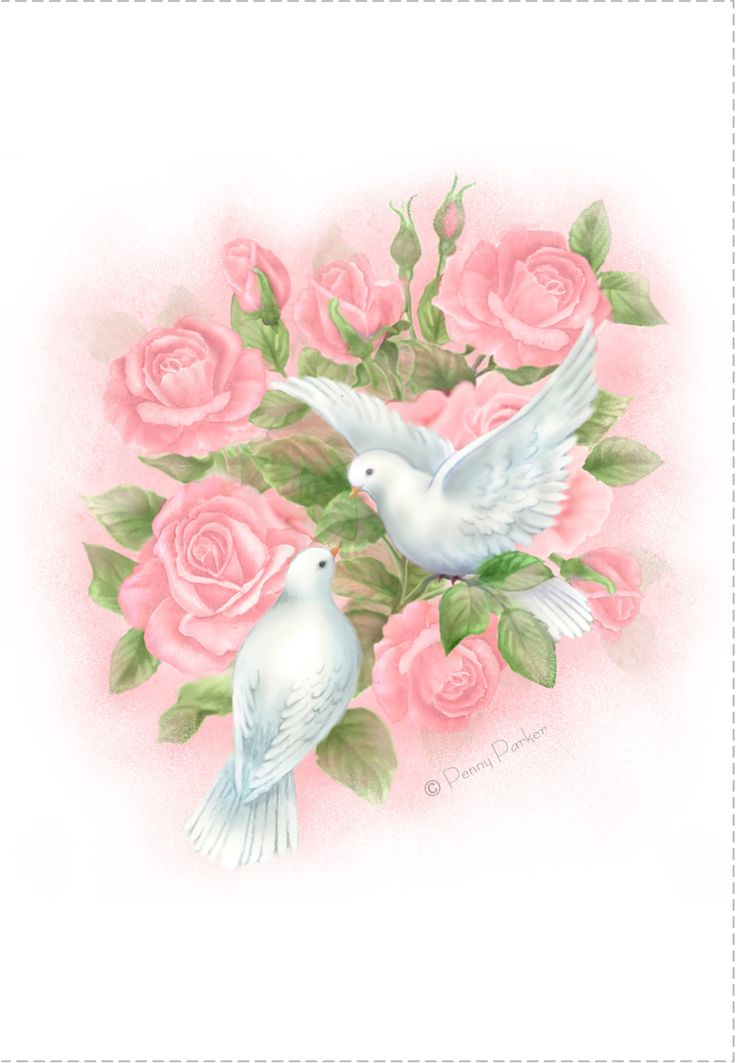 Free Printable Doves And Roses Anniversary Greeting Card