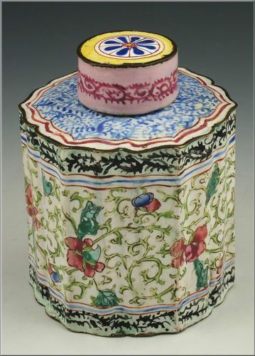 Beautiful 18th C Chinese Enamel Painted Tea Caddy