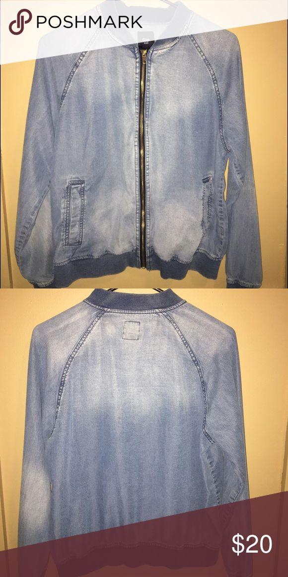 Gap Jacket Light weight blue jean fabric, zip up bomber. Barely worn. GAP Jackets & Coats Jean Jackets