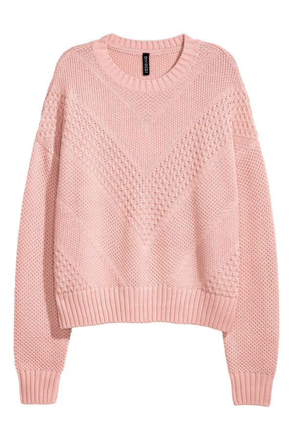 Check this out! Textured-knit sweater in cotton-blend fabric. Dropped shoulders and ribbing at neckline, cuffs, and hem. - Visit hm.com to see more.