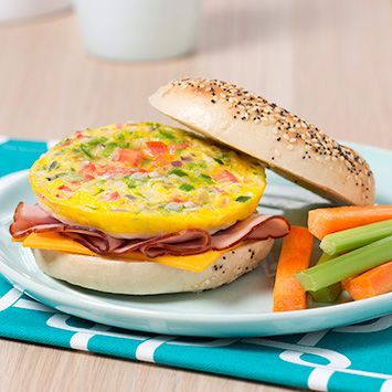 Breakfast Bagel | Get Cracking | This delicious breakfast bagel is a great source of protein. Enjoy it first thing in the morning, and you'll be set for whatever your day brings!