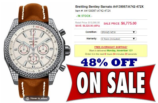 Breitling Bentley Barnato A4139067/A742-472X ...  Save up to $3000 - $15000 …  Shop Luxury Watch Specials Up to 75% Off …  Authenticity & Service Guarantee, Warranty Protection Advantage, Free Overnight Shipping, Price Match100%,  Guarantee Payment Methods, Customer Protection,  Save Extra 3%After An Order Is Placed ...  For Order ...  Click on photo or visit button for Add to Cart