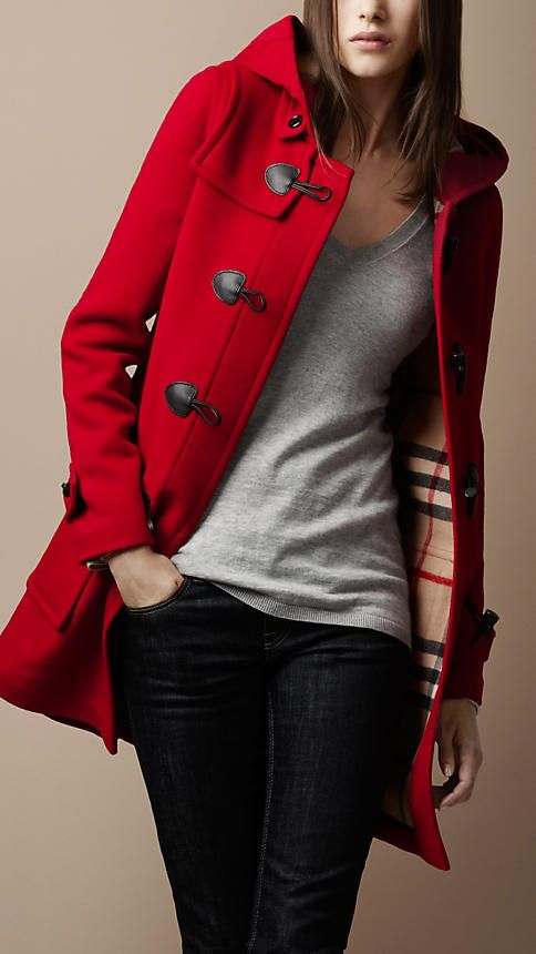 Burberry...maybe in blue: Duffle Coats, Winter, Little Red, Burberry Coats, Red Peas Coats, Red Jackets, Red Riding Hoods, Red Coats, Wool Coats
