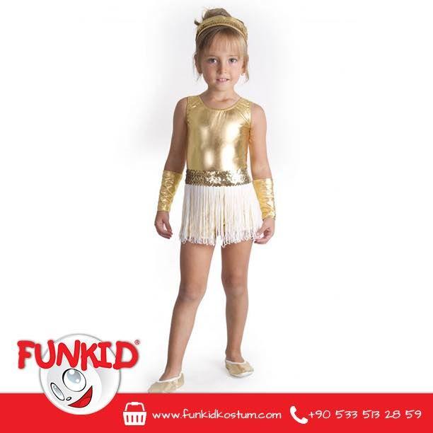Okulların yıl sonu dans gösterileri için tasarladığımız modern dans kostümümüz, çok sevildi. Altın rengi likra kumaş kullandığımız kostümüzü, saç bandı ve çok şık kollukları tamamlıyor. Siparişleriniz için funkidkostum.com veya 0533 513 28 59'dan bize ulaşabilirsiniz. #yılsonugösterisi #funkidkostüm #kostum #costume #çocuk #kids #23nisan #dogumgunu