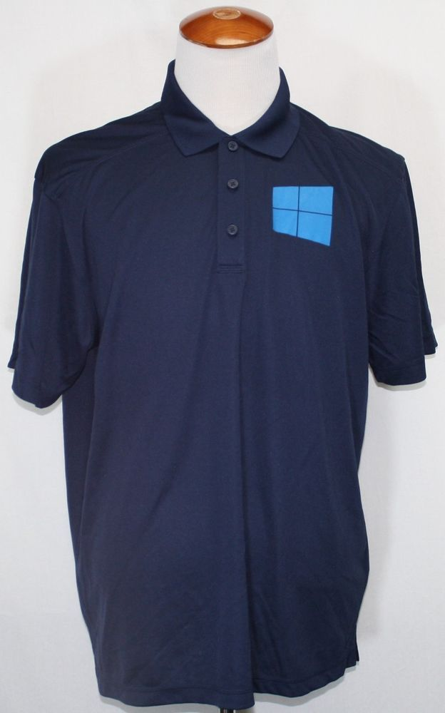 Microsoft Polo Big Logo On Front Do Great Things 10 Navy Blue Xl