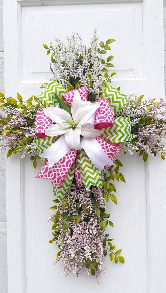 Spring Easter Door Hanger Easter Cross Decor Easter Wreath Floral Easter Wreath Front Door Decor Cross Door Hanger Easter Lily Decor In 2020 Easter Door Decor Front Door Easter Decor Easter
