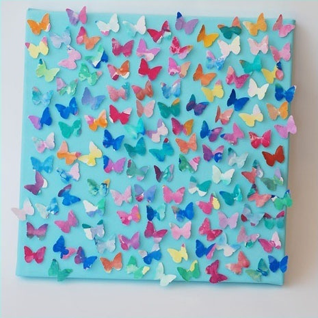 Butterfly collage from kid's watercolor paintings