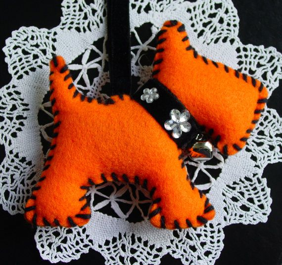 Christmas Decoration, UK Seller, Dog, Hand Made, Orange, Tangerine, Felt,
