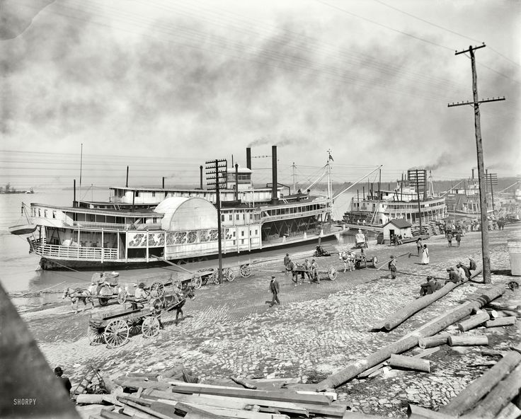 "The Mississippi River circa 1900. ""The levee at Memphis. Sidewheeler James Lee."" In addition to the sternwheelers Harry Lee and City of St. Joseph. Shorpy Historical Photo Archive :: Show Boat: 1900"