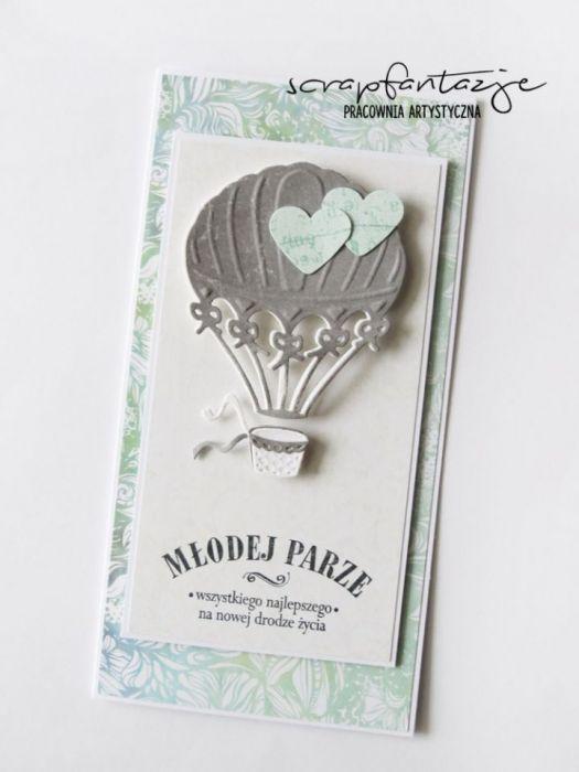 Kartka ślubna z balonem 07
