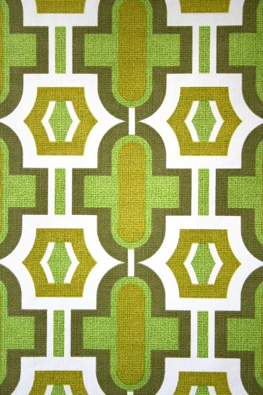 Original Retro Wallpaper Vinyl Wallcovering From The Sixties Seventies